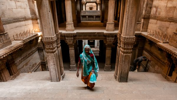 Woman in sari inside Adalaj stepwell